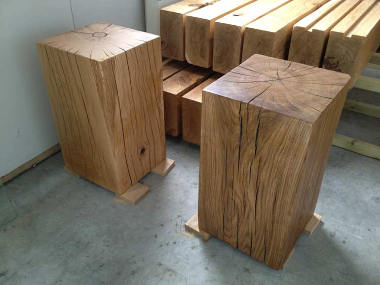 Solid Oak Side Tables Abacus