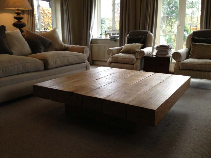 Large oak coffee table abacus tables Wide coffee table
