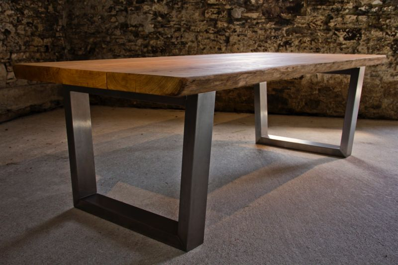 Large oak dining table - Steel kitchen tables ...
