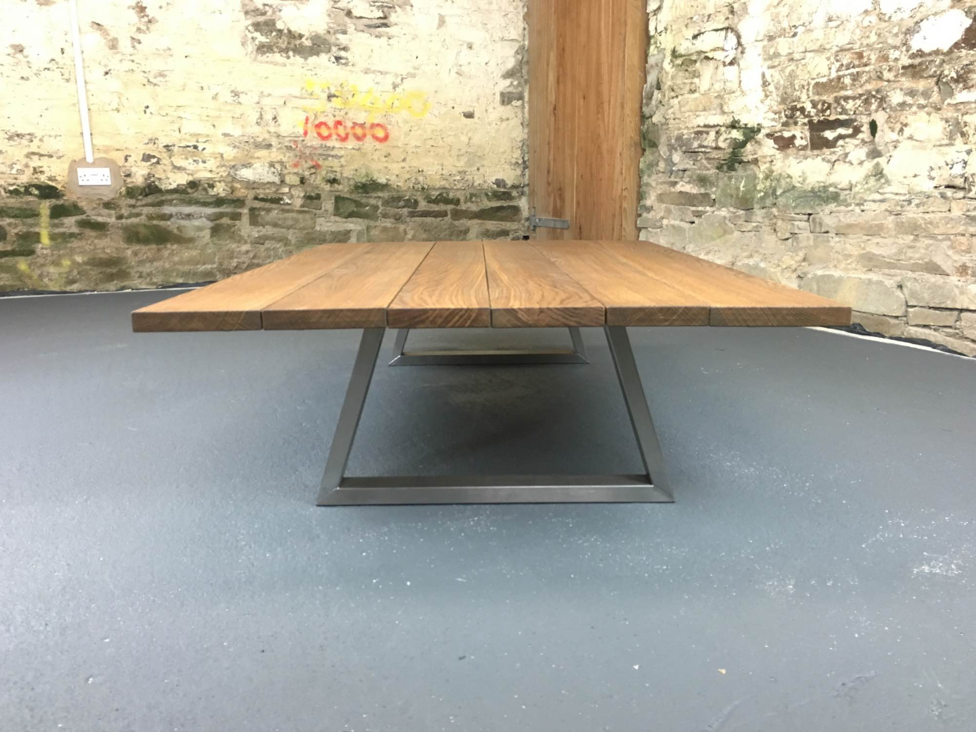 This Piranha has 30mm thick oak top with square edges