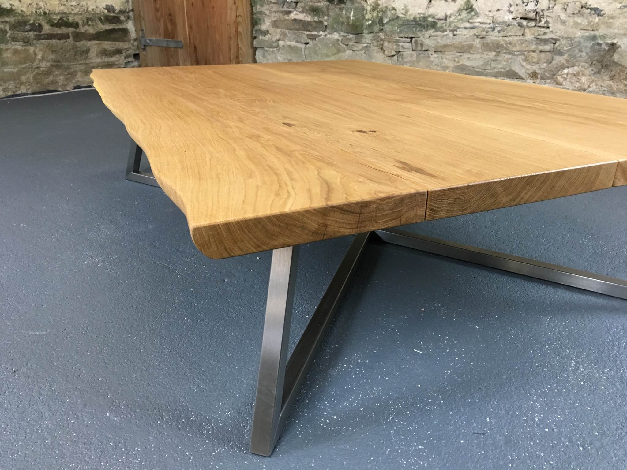 Natural finish oak top with live-edges