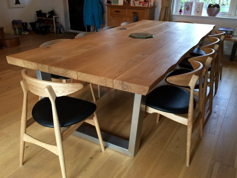 3m x 1.3m Komodo Dining Table with 65mm Oak Top (natural finish)