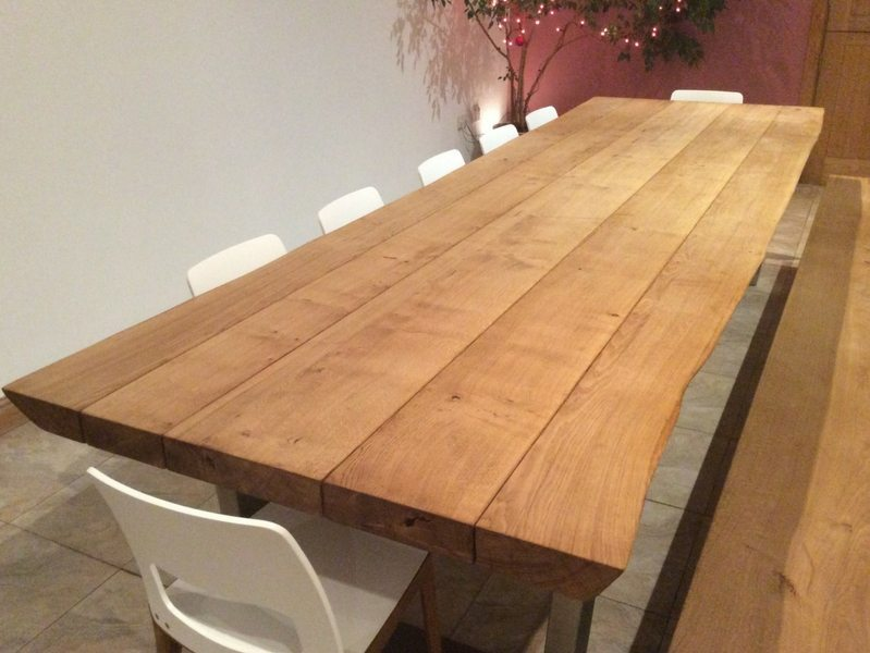 34m x 11m komodo dining table with 65mm oak top smoked finish