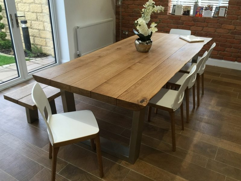 2.4m x 1.1m Komodo Dining Table with 65mm Oak Top (smoked finish)