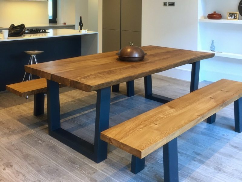 Rustic dining table with bench from tarzan tables komodo 22m x rustic dining table with bench & Oak Dining Table And Bench Image collections - Dining Table Set Designs