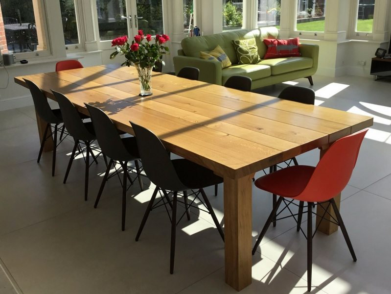 3m x 1.1m Farmhouse Dining Table with 52mm Oak Top (natural finish)